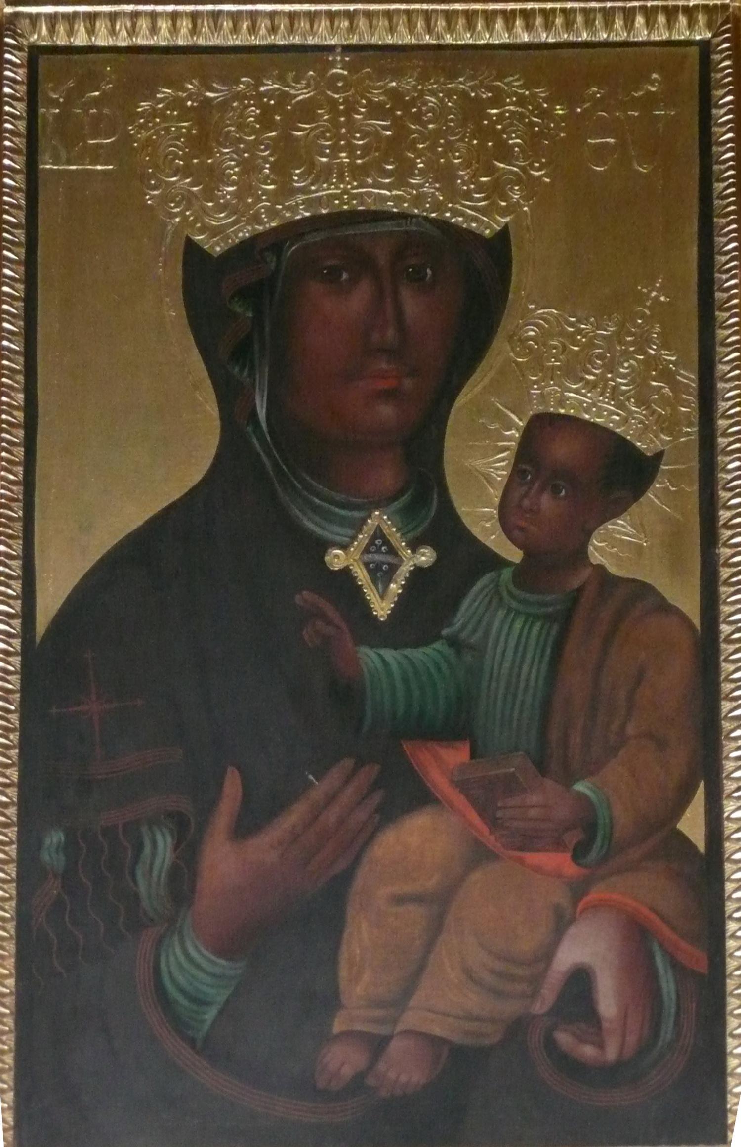 původní vzhled obrazu - kopie Madony na zadní straně oltáře