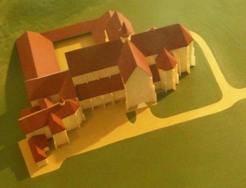 Model starobrněnského kláštera s oběma kostely - kolem roku 1500