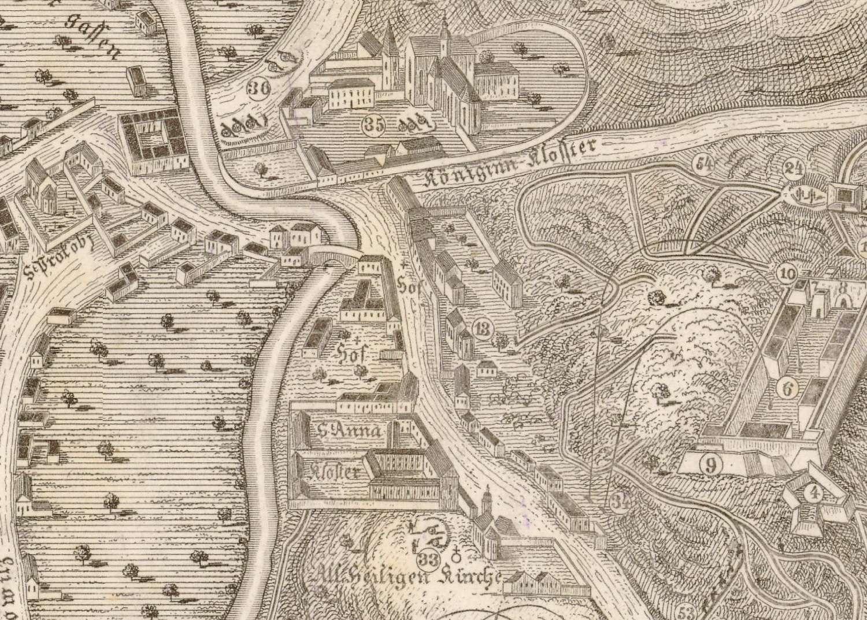Klášter v době obléhání Brna r. 1645
