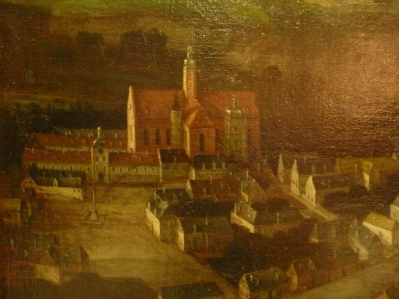 Kostel a klášter na vedutě Volperta van Allena z ro. 1690