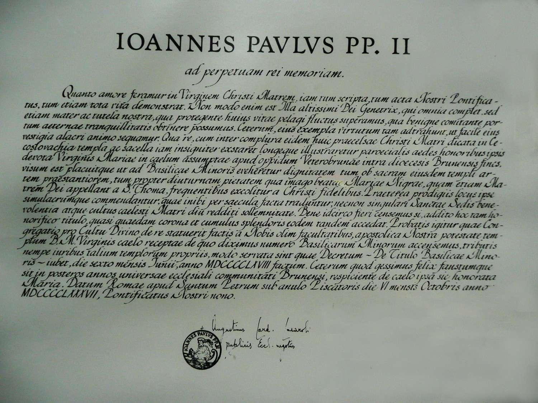 Papežské breve - udělení titulu Basilica Minor