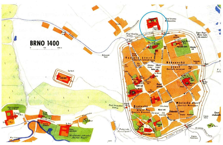 Augustiniánský klášter a kostel v plánu města Brna 1400