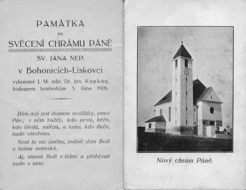 Vysvěcení kostela sv. Jana Nepomuckého ve Starém Lískovci 1926